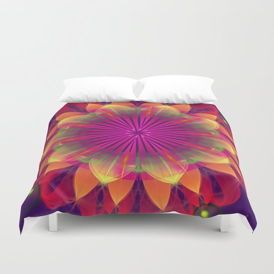 Magical colourful fantasy flower Duvet Cover