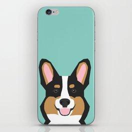 Tricolored Corgi cute corgi dog portrait custom dog art pet friendly dog head cell case iPhone Skin