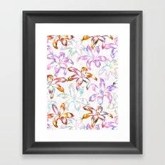 Aztec Sunrise Floral - White Framed Art Print
