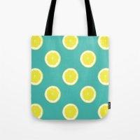 lemon Tote Bags featuring lemon by Panic Junkie