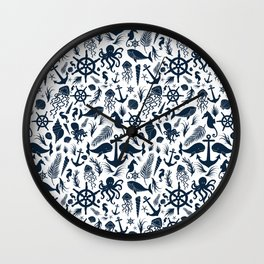 Nautical Silhouettes (Navy Blue on White) Wall Clock