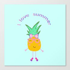 Cute Hipster Pineapple Canvas Print