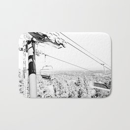 Chairlift // Mountain Ascent Black and White City Photograph Bath Mat