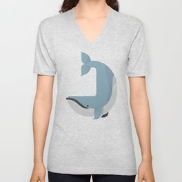Whimsy Blue Whale Unisex V-Neck