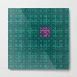 Tic Tac Toe Pattern Metal Print
