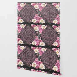 Mandala Night Rose Gold Garden Pink Black Yellow Wallpaper
