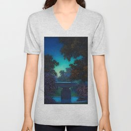 Blue Fountain at Twilight by Maxfield Parrish Unisex V-Neck