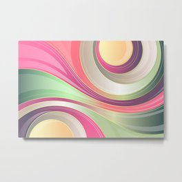 Abstract Swirls and Circles Pastel Retro Design Metal Print