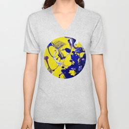 Ultra Violet Blue Yellow Abstract Paint Unisex V-Neck