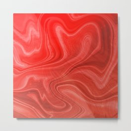 Red Swirl Marble Metal Print