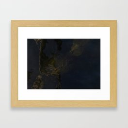 Water surface reflects the wooden pole together with surfacing algae. Framed Art Print