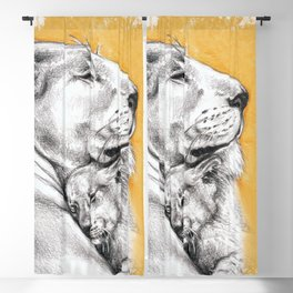 Lioness Mom Love Art Blackout Curtain
