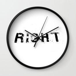 Environmental ' look right' typography Wall Clock