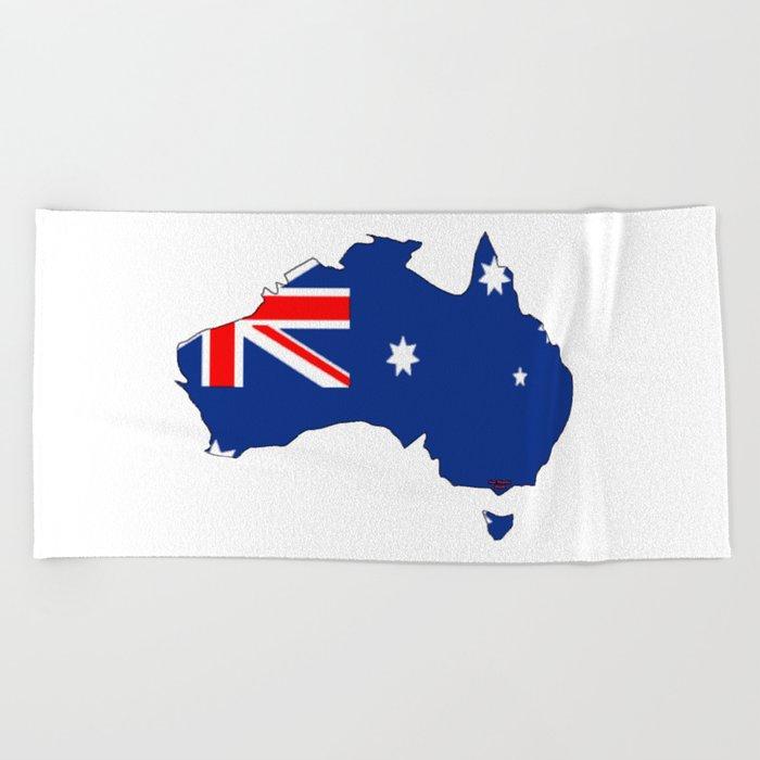 Australia Map And Flag.Australia Map With Australian Flag Beach Towel By Havocgirl