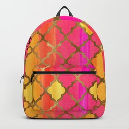Moroccan Tile Pattern In Pink, Red, Orange, And Gold Backpack