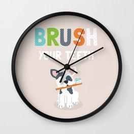 Brush your teeth boston terrier bulldog puppy illustrated kids art print Wall Clock