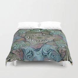 Labyrinth Mandala Blue Green Grey Duvet Cover