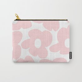 Large Baby Pink Retro Flowers on White Background #decor #society6 #buyart Carry-All Pouch