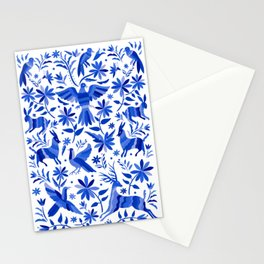 Mexican Otomí Design in Deep Blue Stationery Cards
