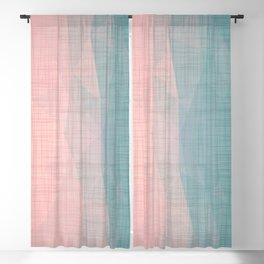 In The Flow - Geometric Minimalist Blue Pink Blackout Curtain