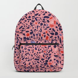 Terrazzo pink red blue Backpack