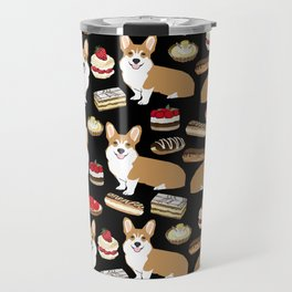 Corgi Patisserie Bakery French Parisian food, tarts, eclair, napoleon, cute food design Travel Mug