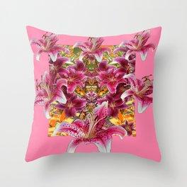 STAR GAZER  LILIES FLORAL MODERN PINK ART Throw Pillow