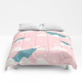 narwhal in ocean pink Comforters