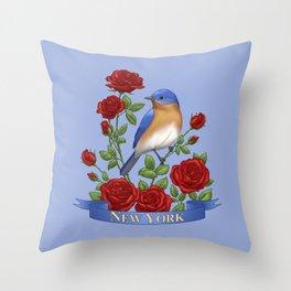 New York State Bird and Flower Throw Pillow