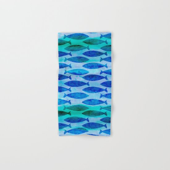 Blue Turquoise Green Watercolor Fish Pattern Hand & Bath Towel