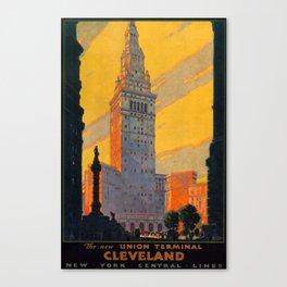 Union Terminal Cleveland Travel Poster Canvas Print