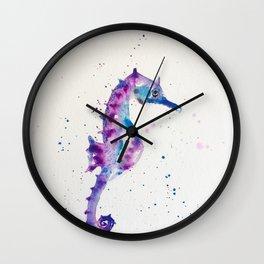 sea horse watercolor Wall Clock