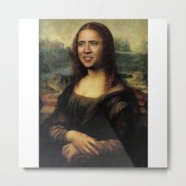 Nicholas Cage Mona Lisa face swap Metal Print