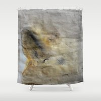 imagerybydianna Shower Curtains featuring inwardly, under a veil~sketch by Imagery by dianna