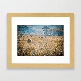 Hay Bales in Snowdonia Framed Art Print