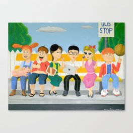 Kids at the Bus Stop Canvas Print