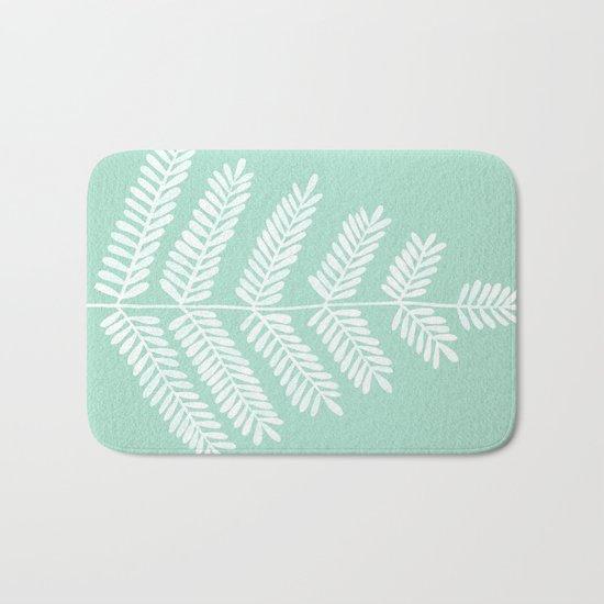 Mint Leaflets Bath Mat