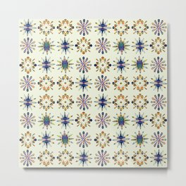 Geometric Patterned Flowers Metal Print