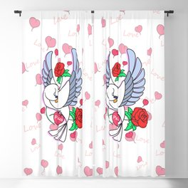 Cute Pigeon Flying - Peace & Love Blackout Curtain