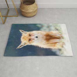 I Can't Stand the Rain (Red Fox in a rain shower) Rug