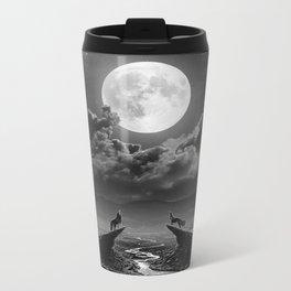 XVIII. The Moon Tarot Card Illustration Metal Travel Mug