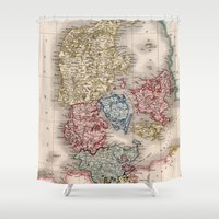 denmark Shower Curtains featuring Vintage Map of Denmark (1838) by BravuraMedia