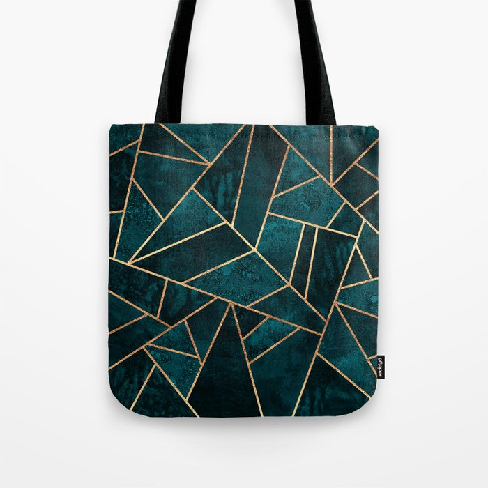 Deep Teal Stone Tote Bag