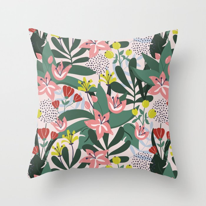 Lush Florals Throw Pillow