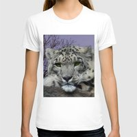 snow leopard T-shirts featuring Snow Leopard by SwanniePhotoArt
