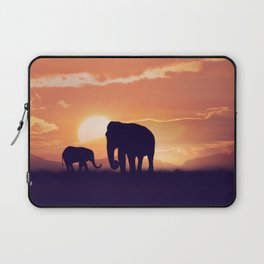 Baby and mother elephants at sunset Laptop Sleeve