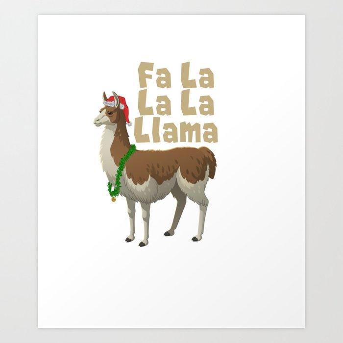Llama Christmas.Fa La La La Llama Christmas Xmas Design Art Print By Rapturemerch