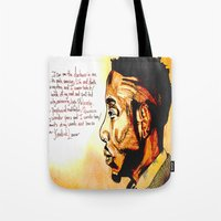 kendrick lamar Tote Bags featuring Kendrick Lamar by Monroe the artist