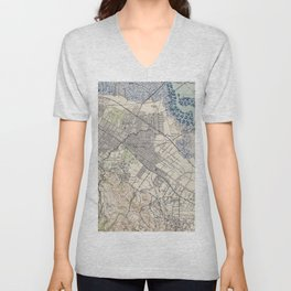 Old Map of Palo Alto & Silicon Valley CA (1943) Unisex V-Neck