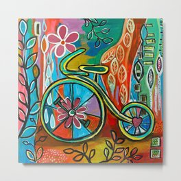 Onward-Whimsical Tricycle Painting Metal Print